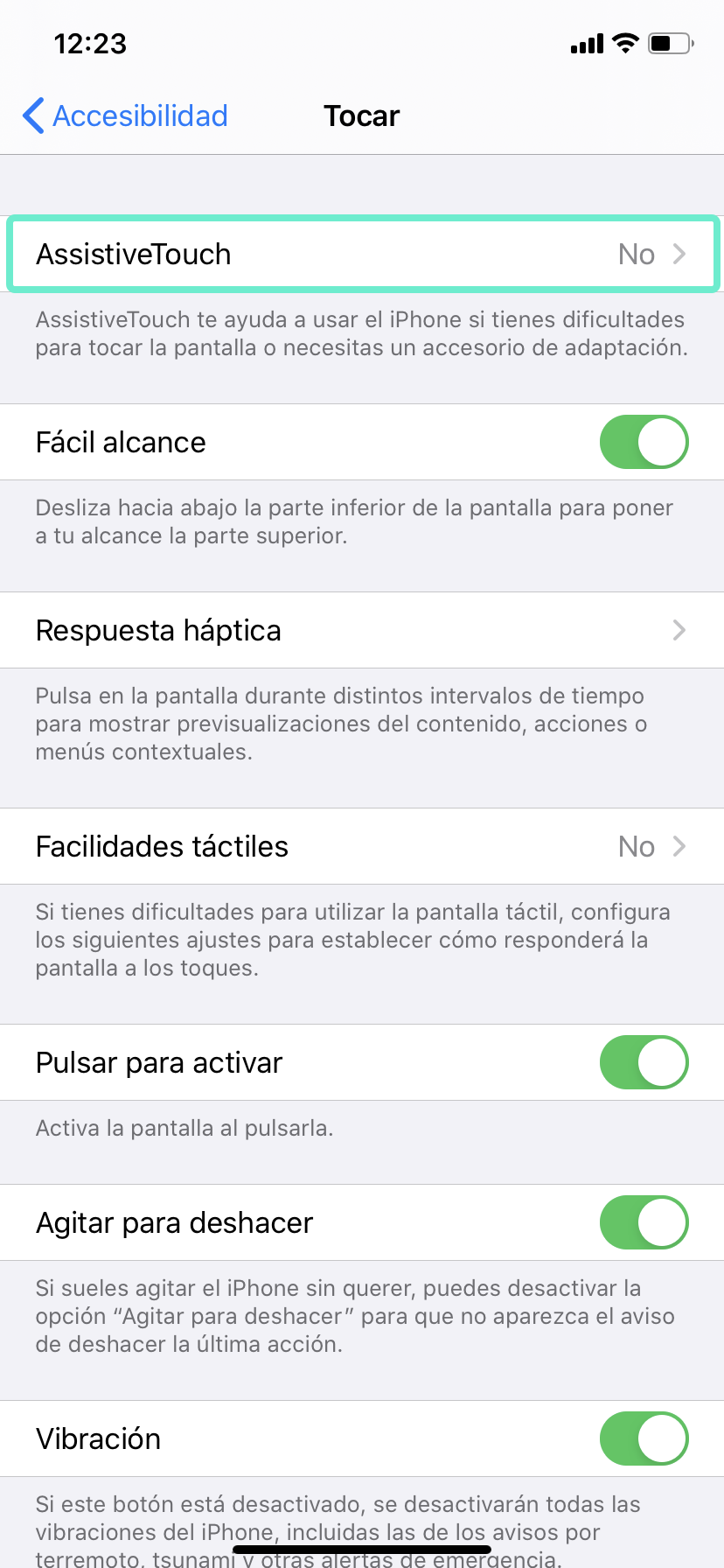 Acceder menu assistive touch apple iphone rim mobile