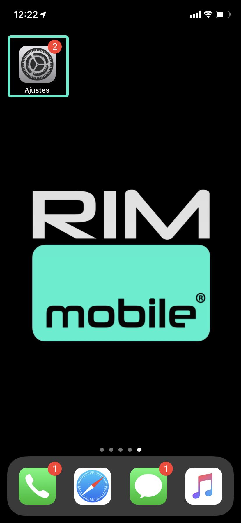 Acceder ajustes iphone rim mobile