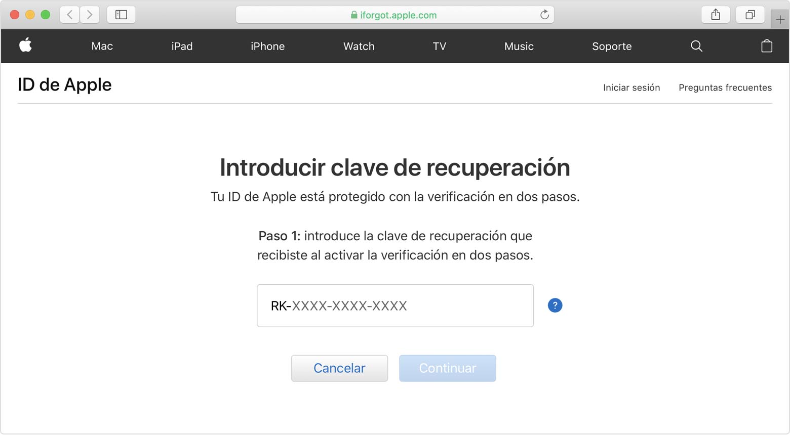 Pantalla ID de Apple mostrando Introducir clave de recuperación