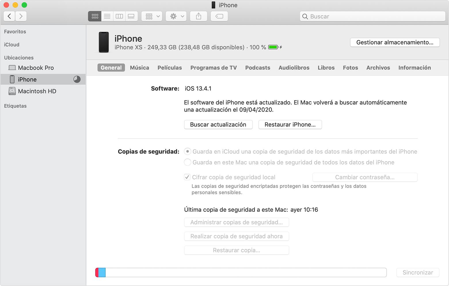 copia seguridad iPhone itunes RIM mobile