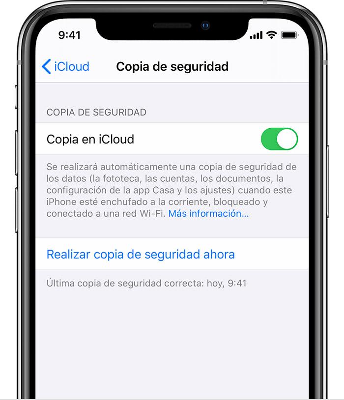 realizar copia seguridad iPhone icloud rim mobile