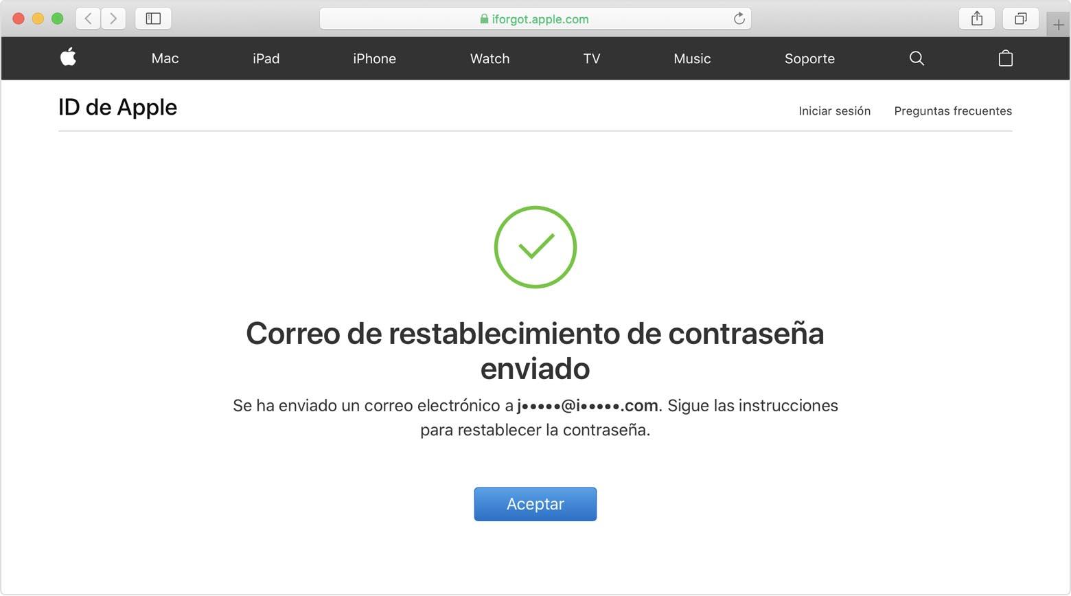 Pantalla ID de Apple mostrando Se ha enviado el mensaje de restablecimiento de contraseña
