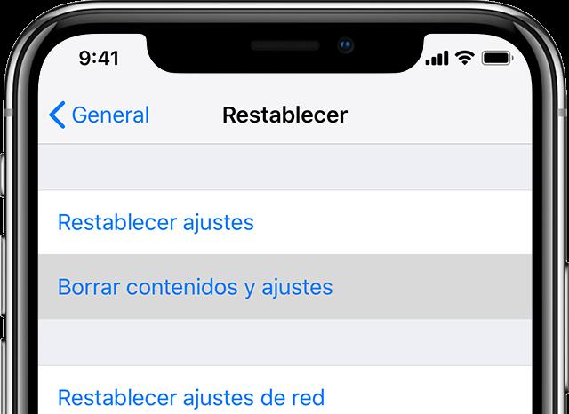 Borrar contenidos y ajustes del iPhone